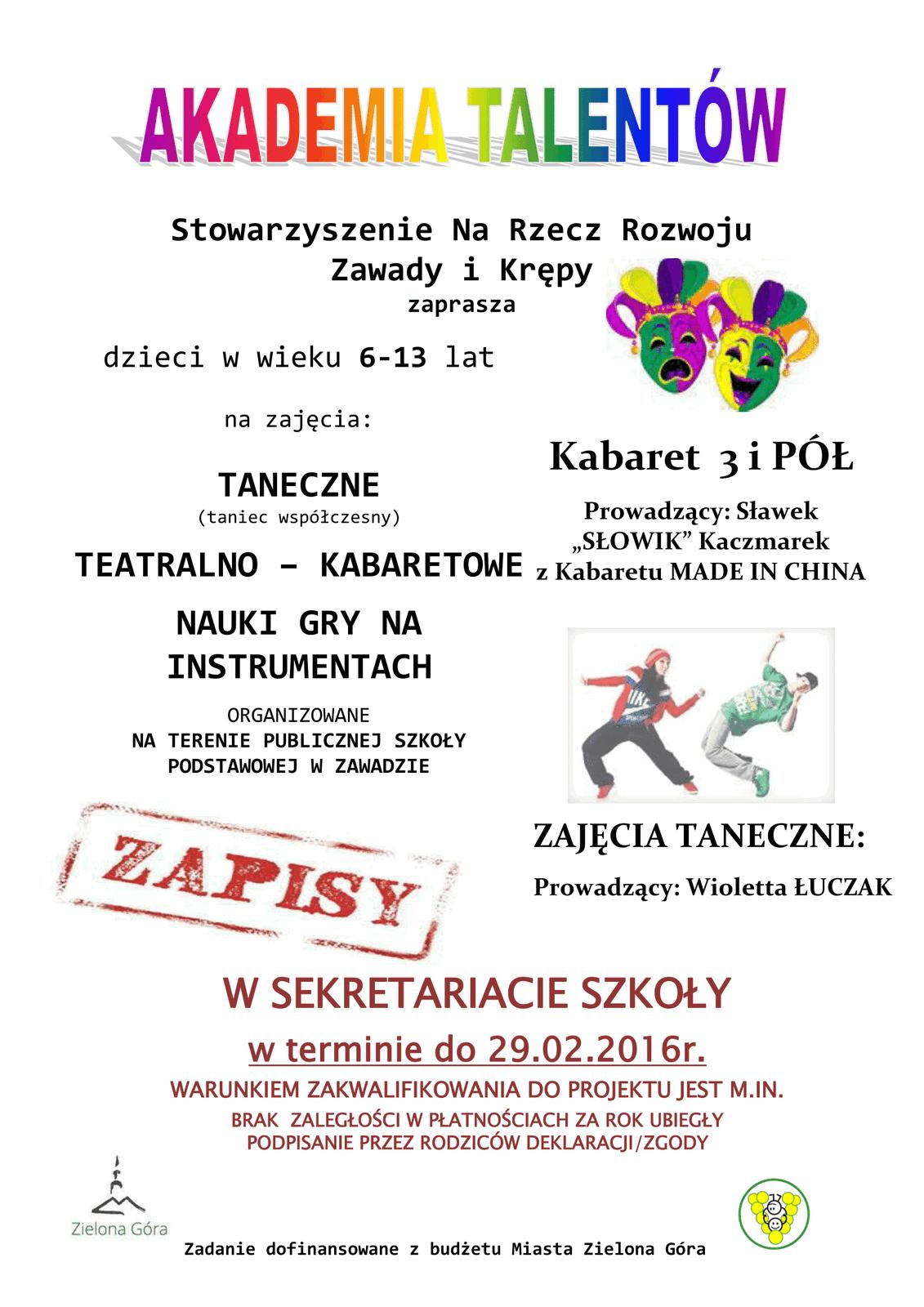"""""""Akademia talentów"""" zaprasza"""