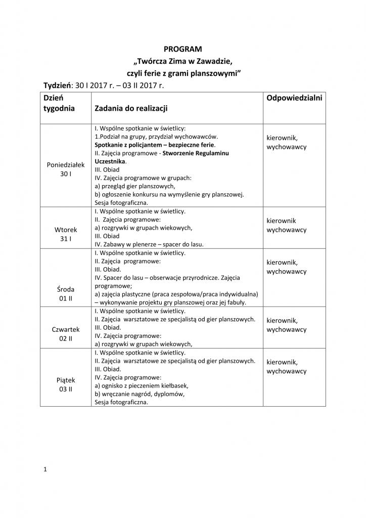 AKCJA ZIMA - PROGRAM- HARMONOGRAM DZIAŁAŃ 2017.-1