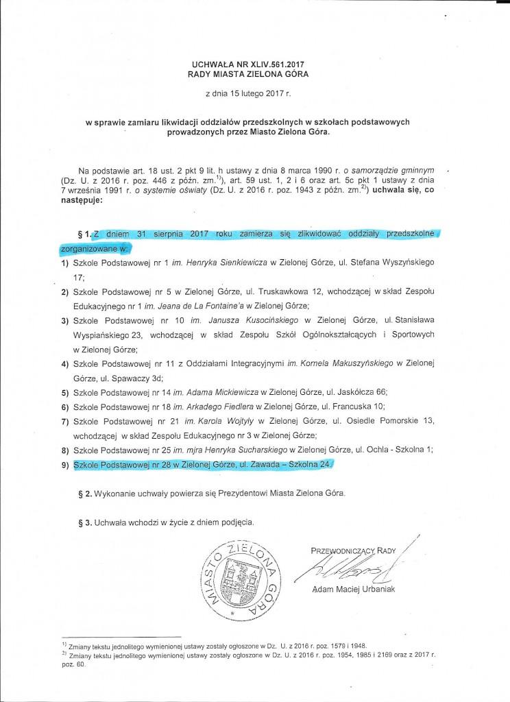 Uchwała Rady Miasta ZG