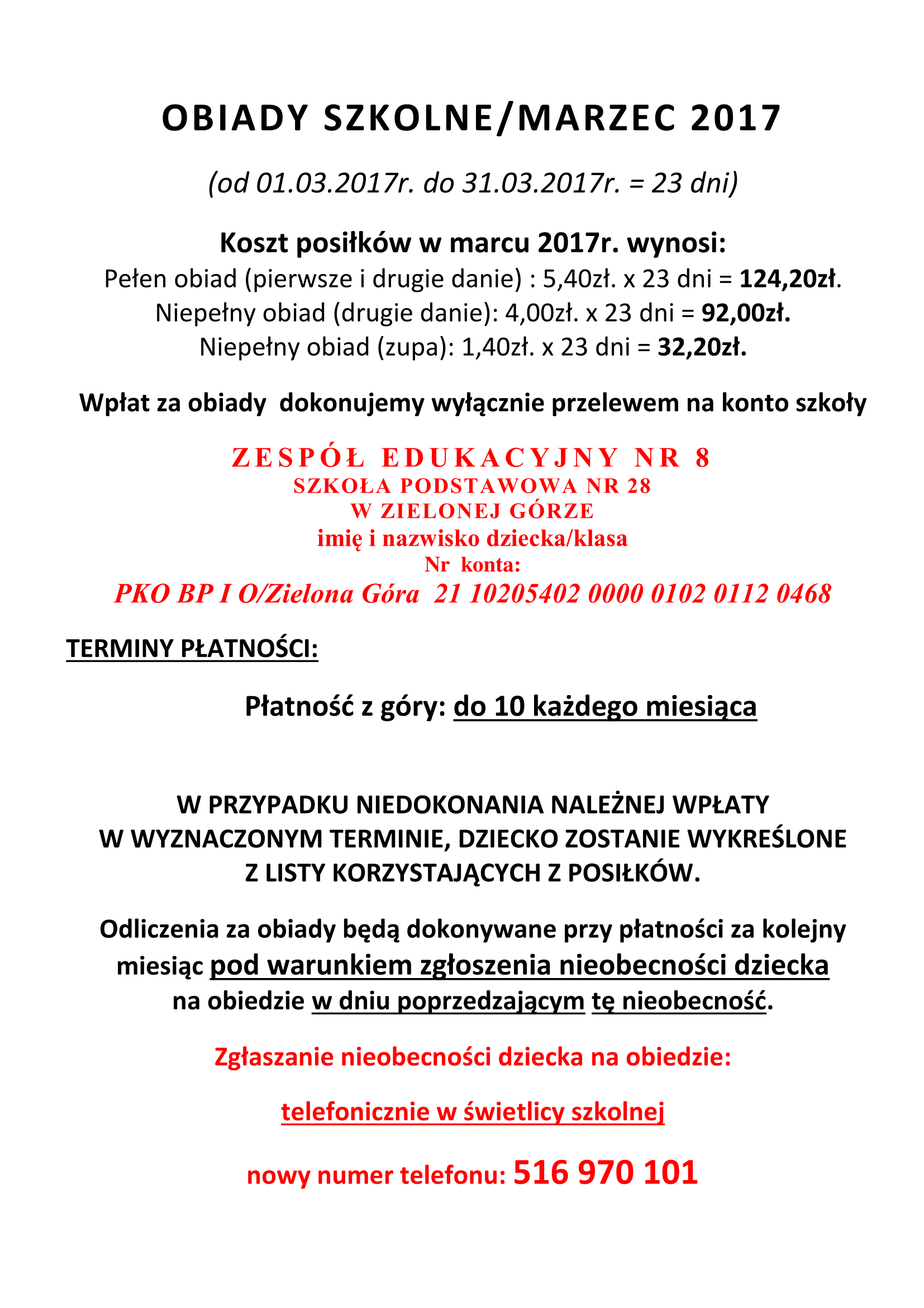 Obiady Szkolne Marzec 2017 Ze 8 Zielona Gora Zawada