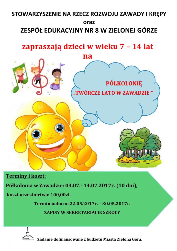 Plakat Półkolonia 2017 II-1