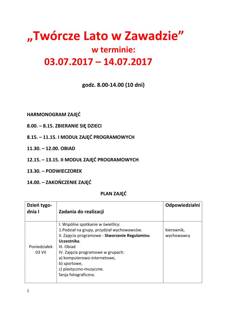 AKCJA LATO- PROGRAM- HARMONOGRAM DZIAŁAŃ 2017.-1