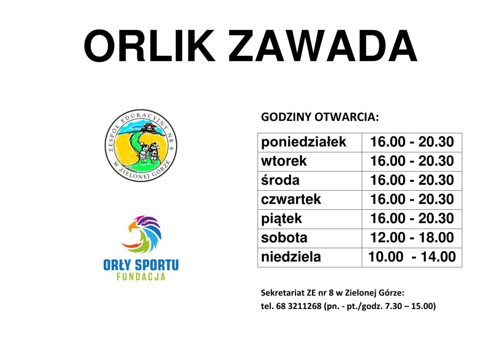 ORILK ZAWADA, GODZ OTWARCIA 2018-1